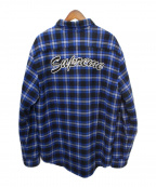 SUPREME()の古着「Arc Logo Quilted Flannel Shirt」|ブルー×ブラック