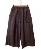 YACCO MARICARD(ヤッコマリカルド)の古着「シルクコットンワイドパンツ」|パープル