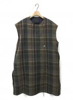 YORI(ヨリ)の古着「チェックノースリーブワンピース」|グレー