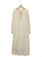AKTE(アクテ)の古着「ボリュームスリーブロングカフスドレス」|ベージュ