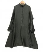 YACCO MARICARD(ヤッコマリカルド)の古着「シルクシャツワンピース」|グレー