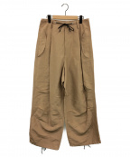 pelleq(ペレック)の古着「front string big trousers」 ベージュ