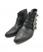 TOGA VIRILIS(トーガ ビリリース)の古着「4連バックルウエスタンブーツ」 ブラック