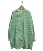 nagonstans(ナゴンスタンス)の古着「SOMELOSストライプスタンドネックシャツ」 グリーン