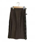 O'NEIL OF DUBLIN(オニールオブダブリン)の古着「コンビキルトスカート」|ブラウン