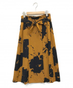 LAUTRE AMONT(ロートレアモン)の古着「幾何ダークフラワープリントスカート」 ブラウン×ネイビー