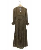 ()の古着「SLANT SHIRRING PLEATS DRESS」|カーキ