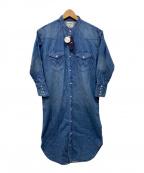 Wrangler(ラングラー)の古着「ノーカラーデニムシャツワンピース」