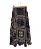 ROSSO(ロッソ)の古着「バンダナフレアスカート」 ネイビー