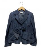 RED VALENTINO(レッドヴァレンティノ)の古着「リボンテーラードジャケット」 ネイビー