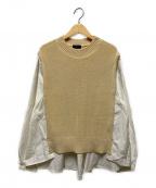SHIPS(シップス)の古着「ニットコンビシャツ」|アイボリー