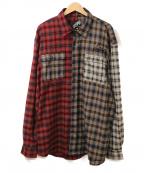 LEFLAH(レフラー)の古着「マルチチェックシャツ」|レッド×ブラウン