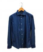 eleventy(イレブンティ)の古着「ホリゾンタルカラーシャツ」 ネイビー