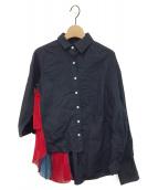 ()の古着「アシンメトリーデザインシャツ」|ネイビー