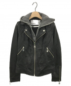DOMA(ドマ)の古着「フード付レザージャケット」 ブラック