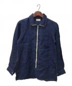 BED J.W. FORD(ベッドフォード)の古着「ハーフジップリネンシャツ」|インディゴ