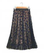Loulou Willoughby(ルルウィルビー)の古着「フロッキーレオパードプリーツスカート」|ブラック