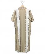 NOMA t.d.(ノーマティーディー)の古着「リブストライプドレス」 ベージュ