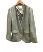 Spick and Span()の古着「リネンライクカラーレスジャケット」|グリーン