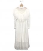 Belle vintage(ベル ビンテージ)の古着「チュールレースドレスワンピース」 ホワイト