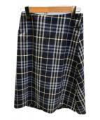 BURBERRY LONDON(バーバリーロンドン)の古着「ノヴァチェックラップスカート」|ネイビー