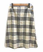 BURBERRY LONDON()の古着「ノヴァチェックラップスカート」|アイボリー