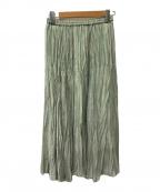 Spick and Span(スピックアンドスパン)の古着「シフォンストライププリーツスカート」|ライトグリーン