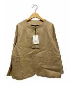 LEQUIPE YOSHIE INABA(レキップヨシエイナバ)の古着「リネンキャンバスノーカラージャケット」 ベージュ