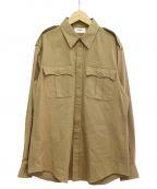 CELINE()の古着「20SS 軽量コットンツイルミリタリーシャツ」 ベージュ