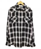 CELINE()の古着「20SS クラシックフィットチェックシャツ」 ブラック×ホワイト