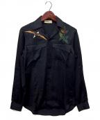 MAISON FLANEUR(メゾン フラネウール)の古着「オープンカラーシャツ」 ネイビー