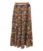 Rouge vif(ルージュヴィフ)の古着「フラワープリント切替スカート」 ブラック