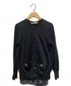 sacai luck(サカイ ラック)の古着「サテン切替カーディガン」 ブラック