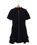 EmiriaWiz(エミリアウィズ)の古着「フロントジップフリルワンピース」 ブラック