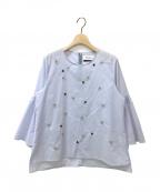 MUVEIL()の古着「タックスリーブ刺繍入りブラウス」|ライトブルー