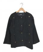 Jean Paul GAULTIER(ジャンポールゴルチエ)の古着「【OLD】デザインノーカラージャケット」|グレー×ブラック