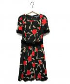 MS GRACY(エムズグレイシー)の古着「ローズプリントワンピース」|ブラック