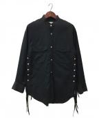 BED J.W. FORD(ベッドフォード)の古着「Collarless Shirt」|ブラック