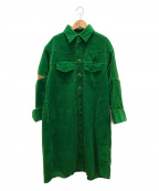 TARO HORIUCHI(タロウホリウチ)の古着「コーデュロイシャツワンピース」 グリーン