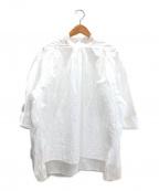 DRAWER()の古着「コットンドビースタンドカラーブラウス」|ホワイト