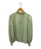 allureville(アルアバイル)の古着「プリーツ楊柳ボウタイパフブラウス」|グリーン