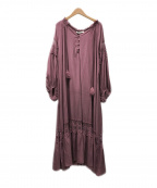 ETRE TOKYO(エトレトウキョウ)の古着「スカラップレースマキシドレス」|ピンク