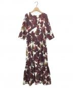 ELIN(エリン)の古着「フローラルVネックドレス」|パープル