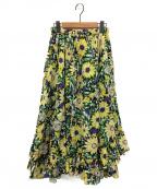 IENA LA BOUCLE(イエナ ラ ブークル)の古着「フラワープリントフリルヘムスカート」|ブラック