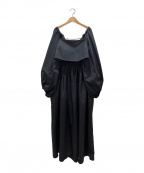 ETRE(エトレ)の古着「スクエアネックレイヤードボリュームワンピース」 ブラック