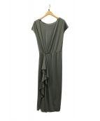 ()の古着「Asymmetric Ruffled Jersey Dres」|オリーブ