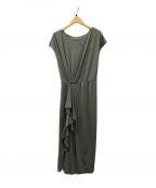 HER LIP TO(ハーリップトゥ)の古着「Asymmetric Ruffled Jersey Dres」|オリーブ