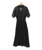 ELENDEEK(エレンディーク)の古着「スラブギャザースモックワンピース」|ブラック