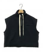 CABAN(キャバン)の古着「ファインポリエステル スキッパージップベスト」 ブラック
