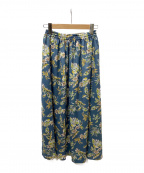 URBAN RESEARCH(アーバンリサーチ)の古着「カラーリーフプリントギャザースカート」|ブルー